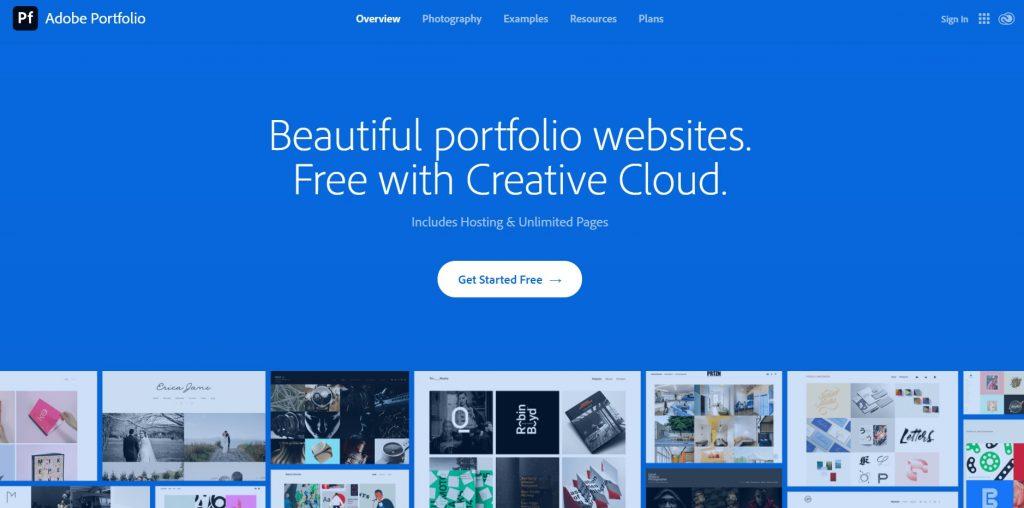 Adobe Portfolio homepage
