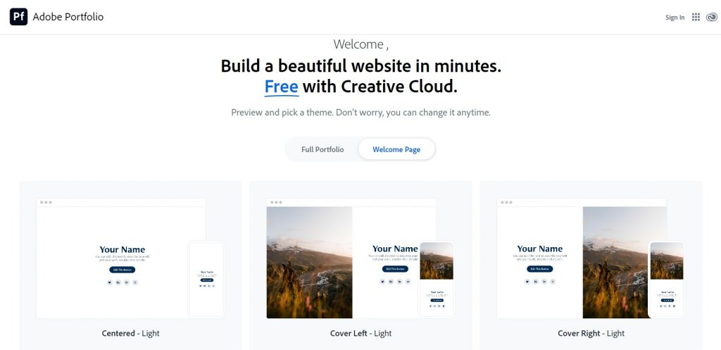 A page with collection of pre set templates for one page websites