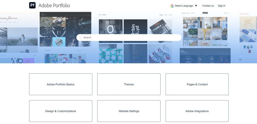 Adobe Portfolio knowledge base with the most popular topics.