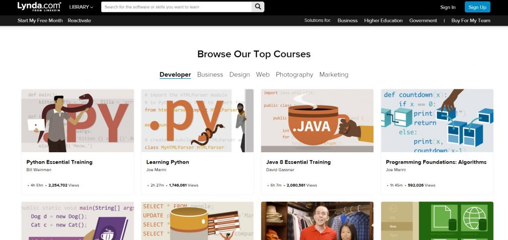 Page with top-rated Lynda's courses.