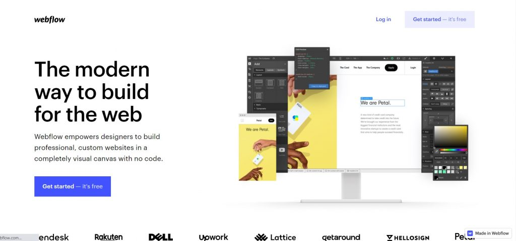 Webflow home page.