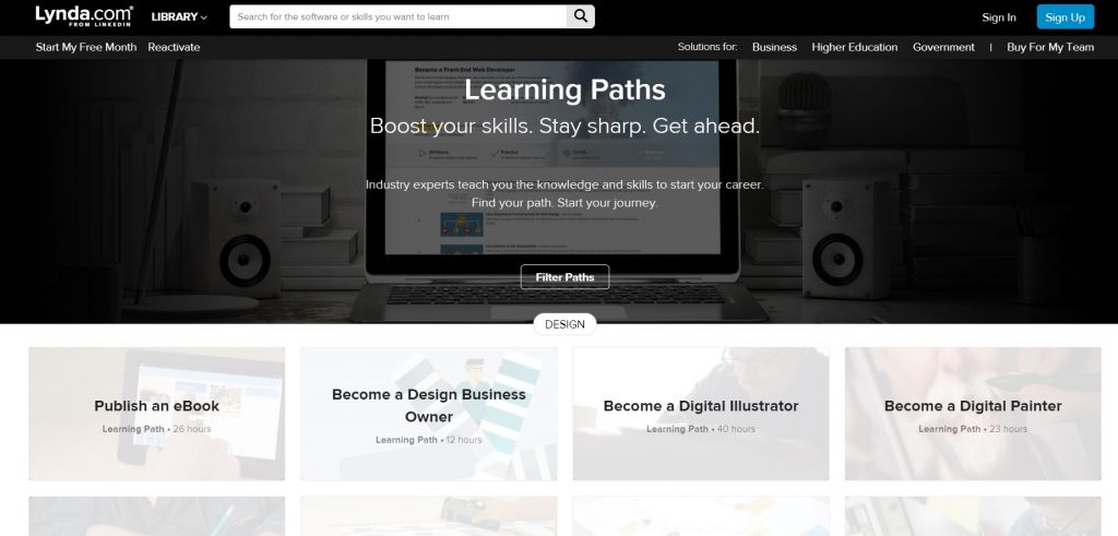 The list of Learning Paths on Lynda.