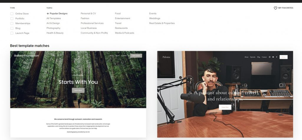 Menu with choosing the type, topic of your project, and best template matches.