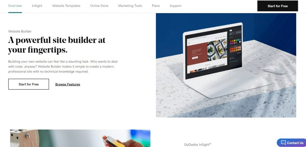 Page with description of website builder tool by GoDaddy.