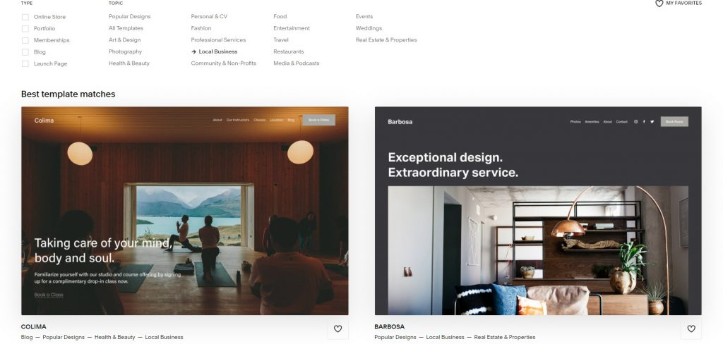 Squarespace's page with choosing type and style of the template.
