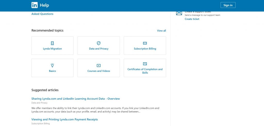 Lynda's support page with recommended topics.