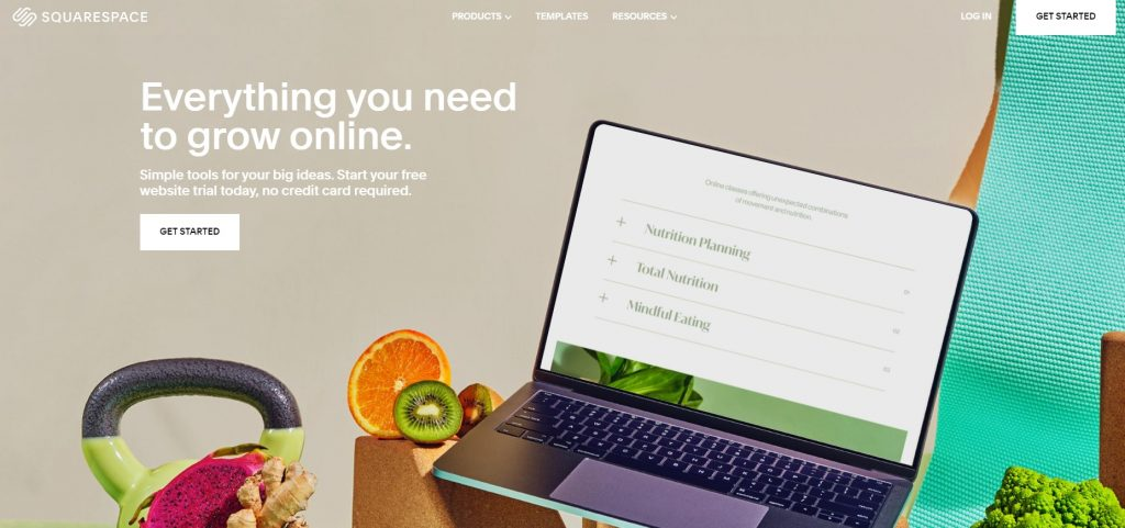 """Squarespace's homepage with a """"Get started"""" button."""