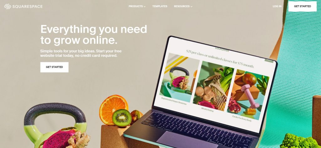 Squarespace home page.