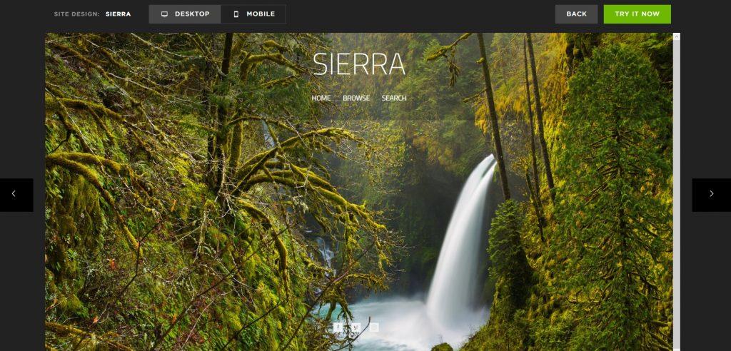 "Template ""Sierra"": waterfall among the rocks."