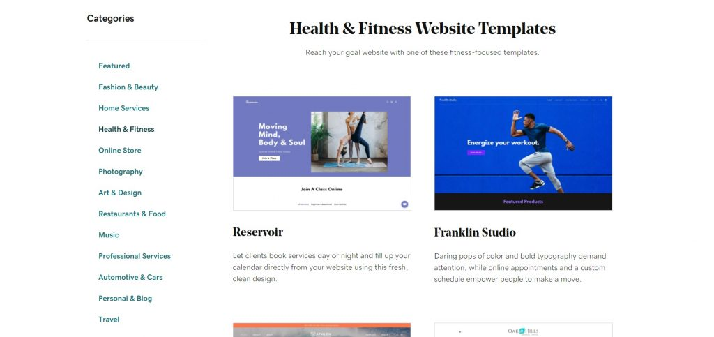 Page with categories of themes by WordPress.