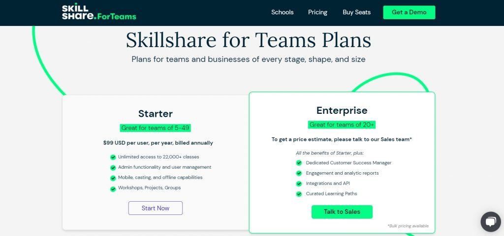 Comparison of Starter and Enterprise Team plans on Skillshare.