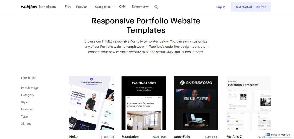 A set of portfolio-oriented templates. Webflow.