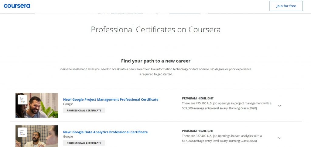 Professional certificates offered by Lynda.