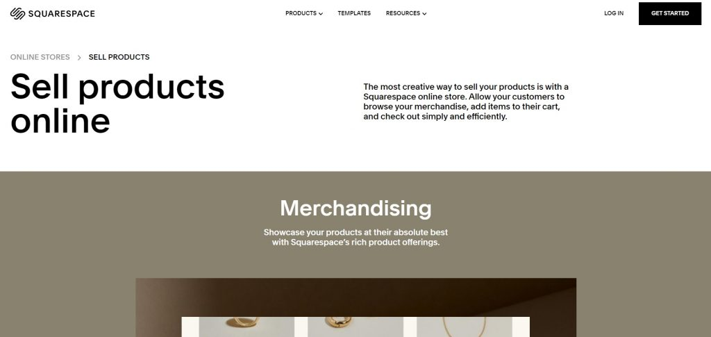 Squarespace's page with advises about merchandising
