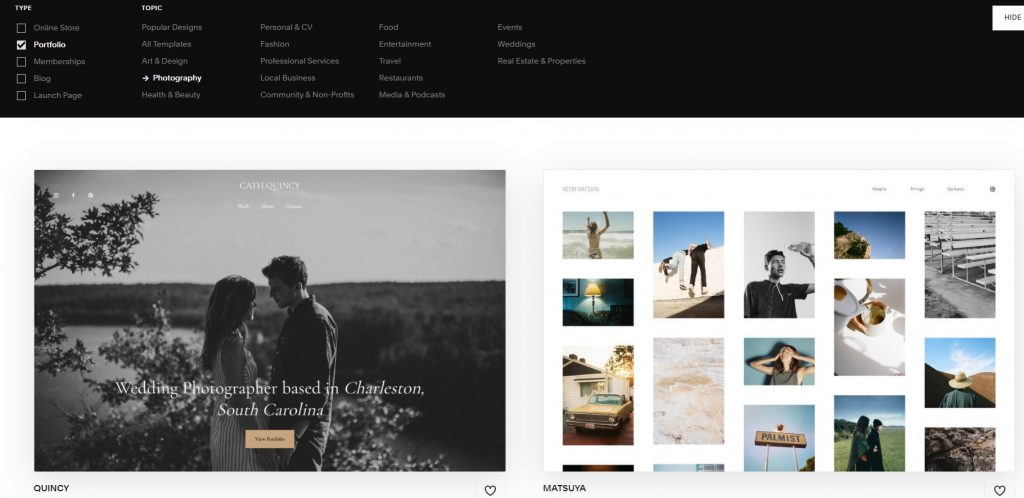 List of main topics and styles of Squarespace's templates