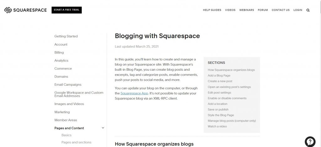 Page with instructions about how to start blog on Squarespace.