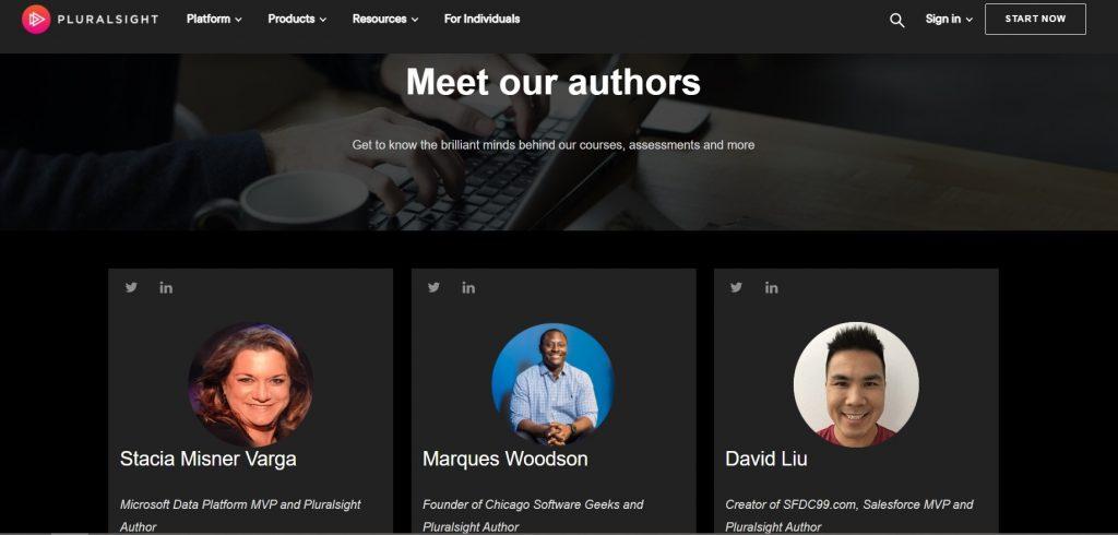 Instructors' profiles. Pluralsight.