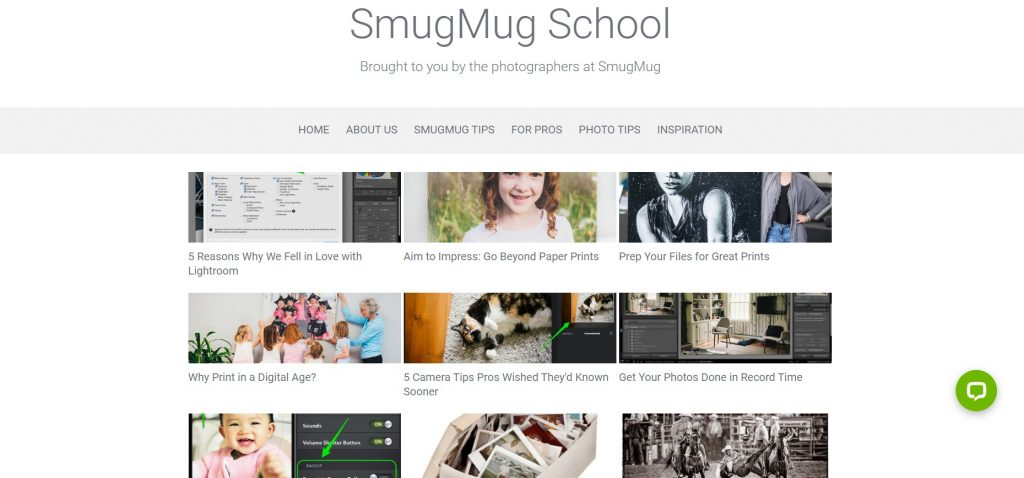 SmugMug School homepage with the most popular topics.