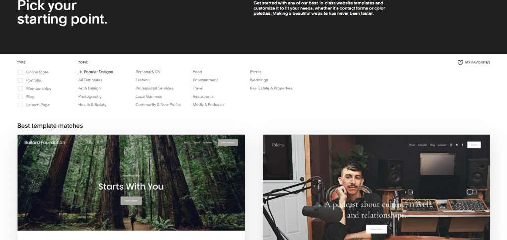 Offered topics and types of templates. Squarespace