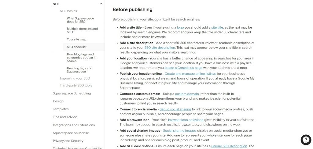 Tips and guidelines about SEO. Squarespace.