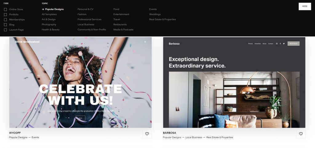 Page where you can choose topic and type of template. Squarespace.