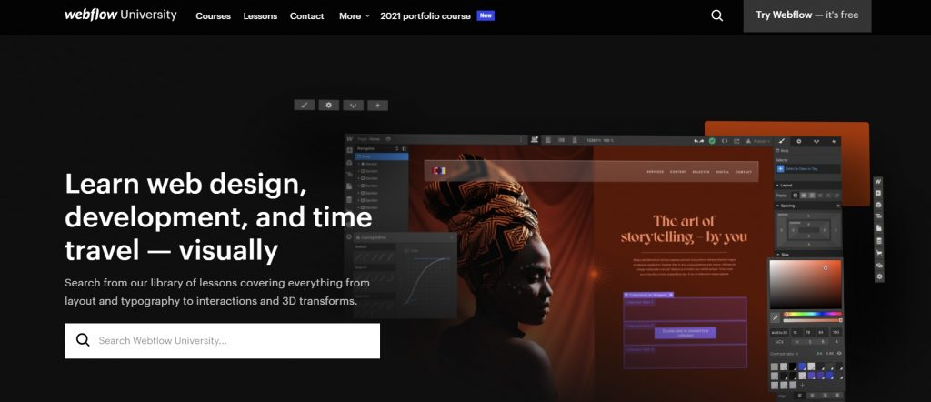 Webflow University official web page.
