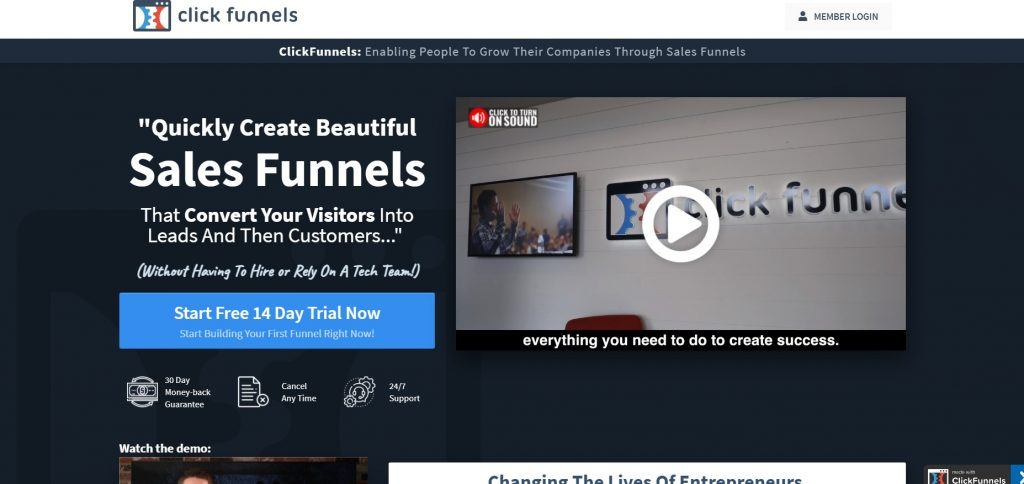 ClickFunnels' homepage.