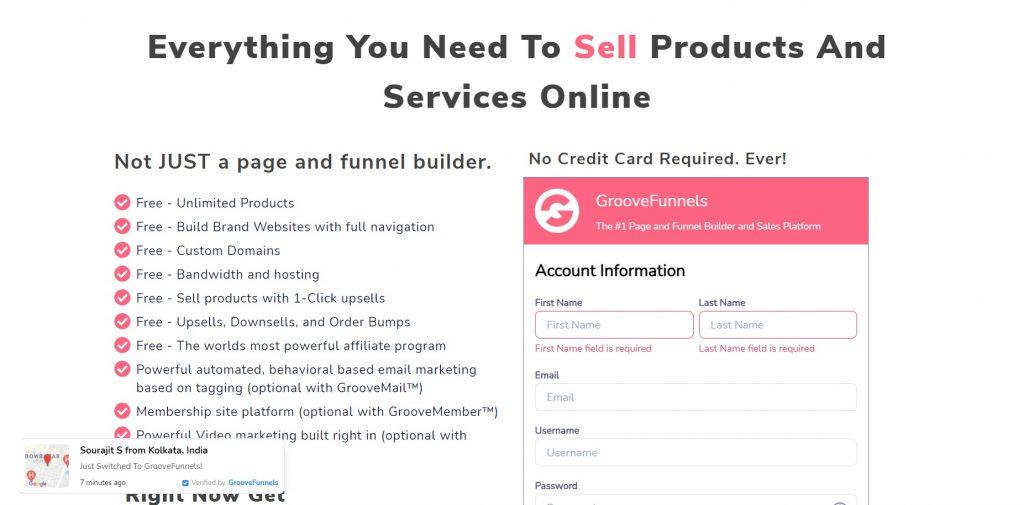 GrooveFunnels registration form.