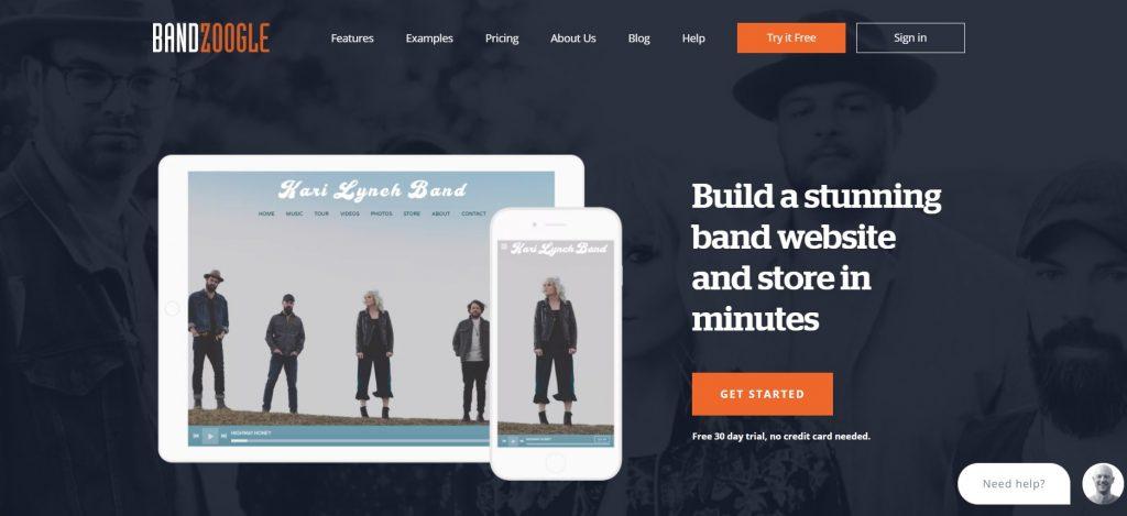 Bandzoogle homepage.