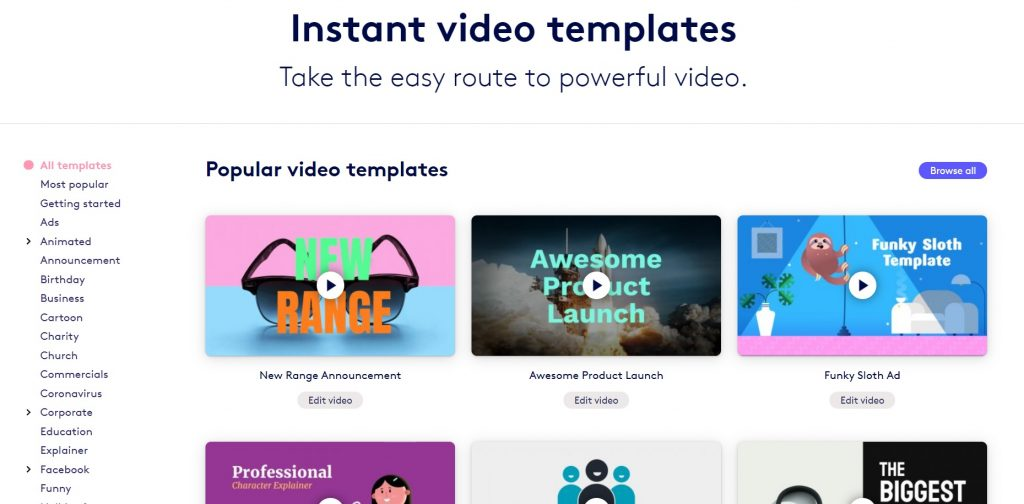 A list of offered templates and footages. Biteable.