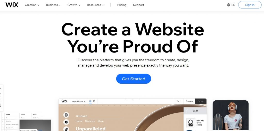 Get started with Wix.