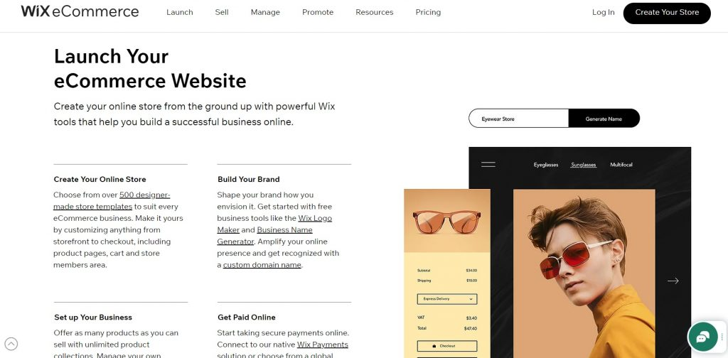 Page with offered eCommerce options.  Wix.