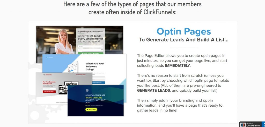 What ClickFunnels web page builder can offer.