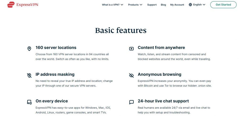 Basic ExpressVPN features.