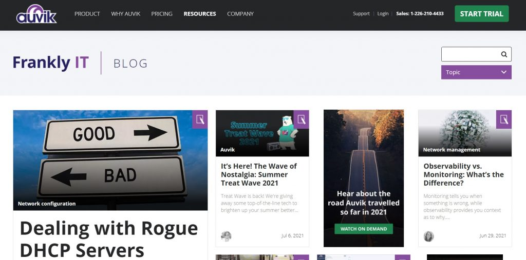 Auvik's blog section.