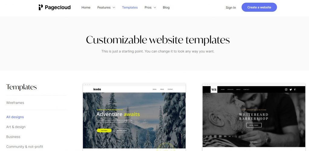 Examples of templates. PageCloud.