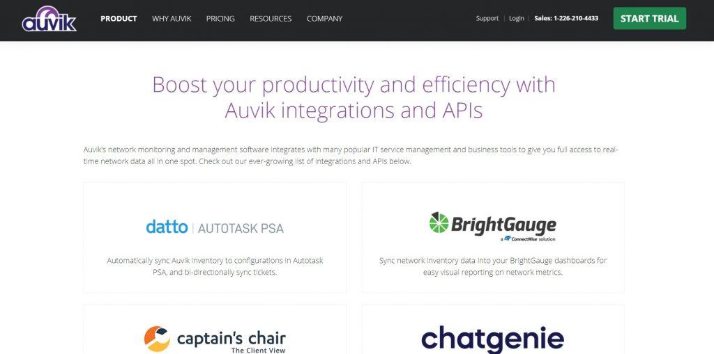 A list of the platform's integrations. Auvik.