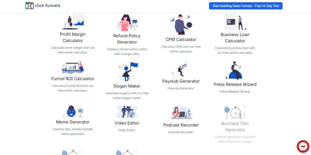 ClickFunnels' business tools.