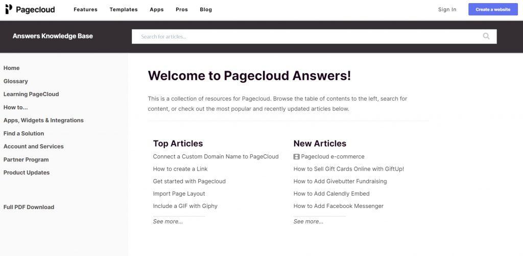 PageCloud's knowledge base.