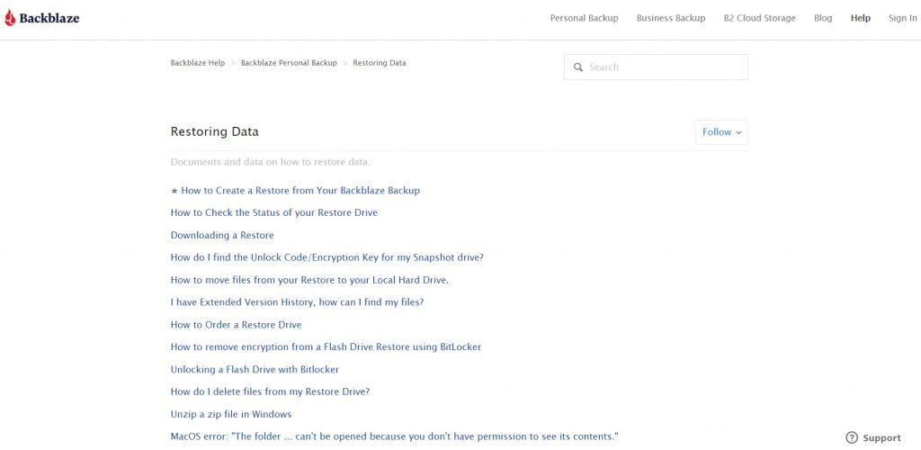 Detailed restoring data guides. Backblaze.