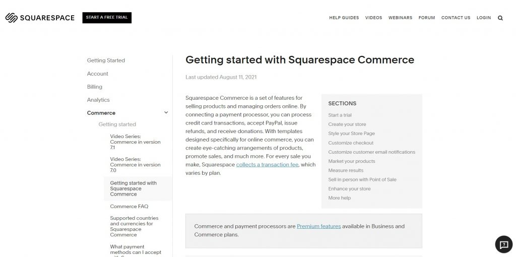 Overview of Squarespace commerce tools.