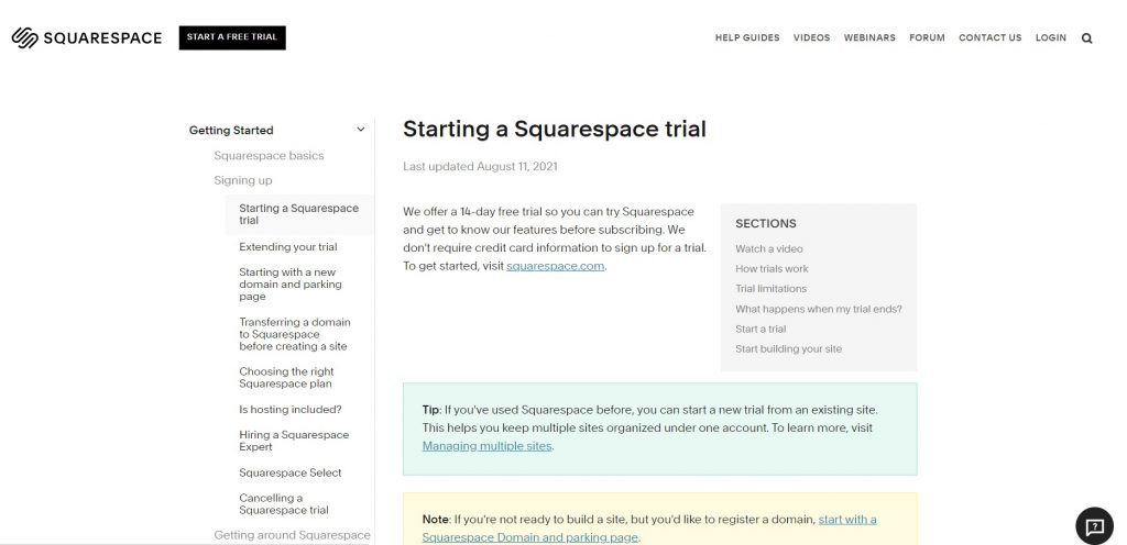 How to start a Squarespace's free trial.