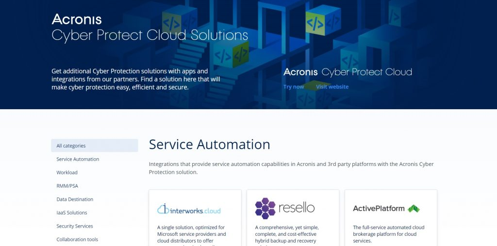 The full list of available integrations. Acronis True Image.