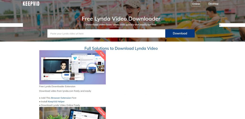 The platform's video download page. Keepvid.