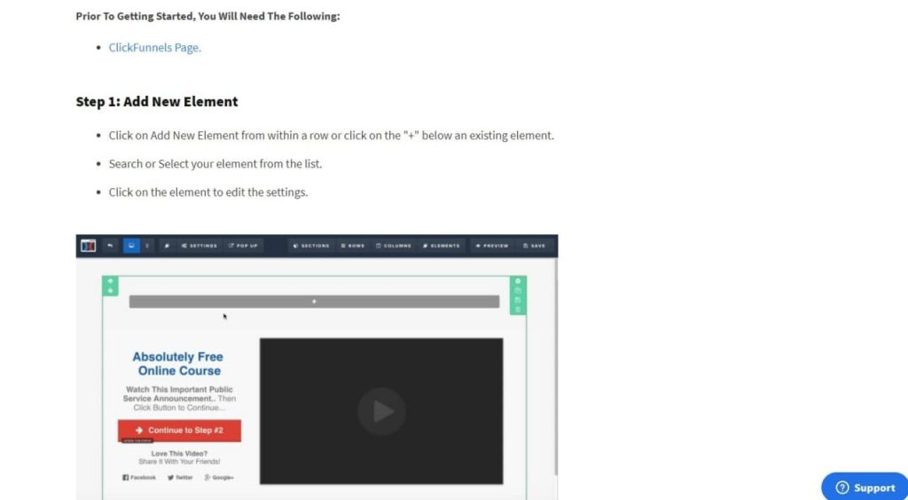 Detailed instructions about adding elements to ClickFunnels' page.