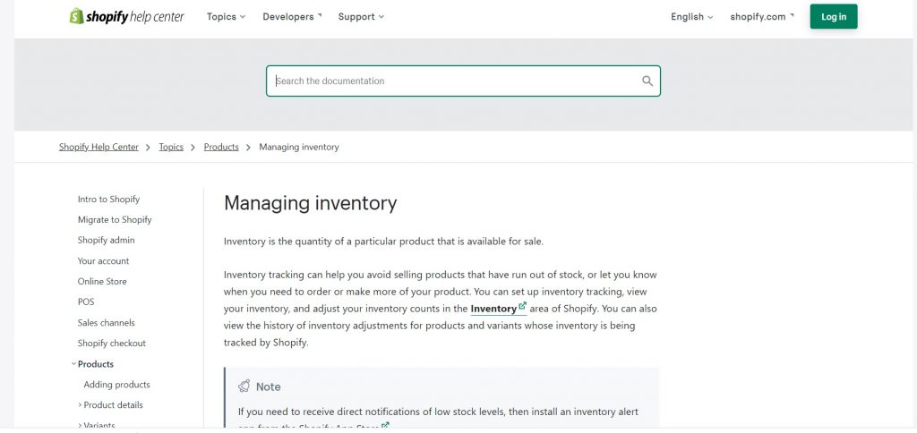 Synchronization and inventory management on Shopify.